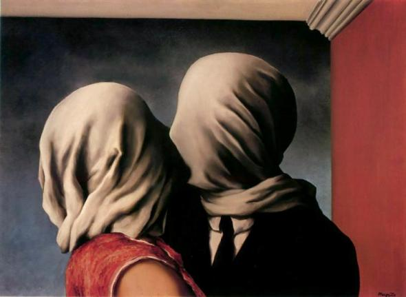 "Rene Magritte, ""The Lovers"" (1928)"