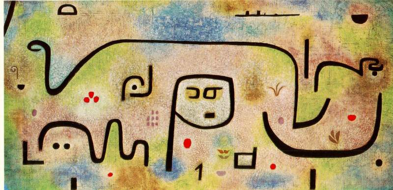 "Paul Klee, ""Insula Dulcamara"" (1938); Oil on newsprint, mounted on burlap"