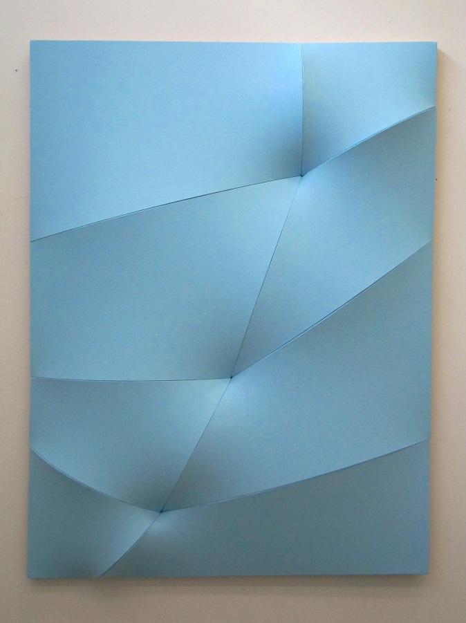 "Jan Maarten Voskuil. ""broken light blue"", 2013, acrylics on linen, 120x90x10cm"